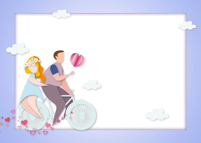 طرح لایه باز پس زمینه زن و شوهر درحال دوچرخه سواری