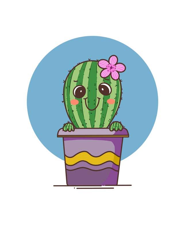 طرح کلیپ آرت گل گیاه کاکتوس فانتزی