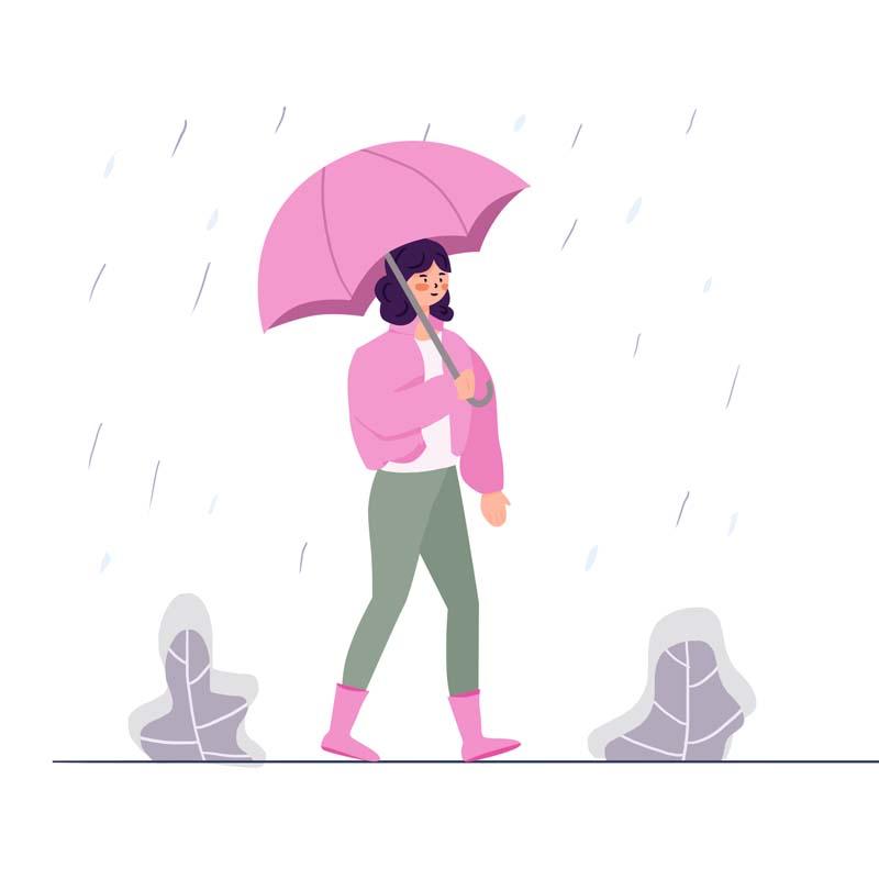 وکتور مفهومی با کیفیت با طرح پیاده روی زیر باران