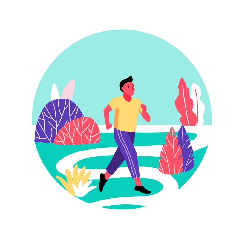 دانلود وکتور مفهومی باکیفیت با طرح دویدن در پارک