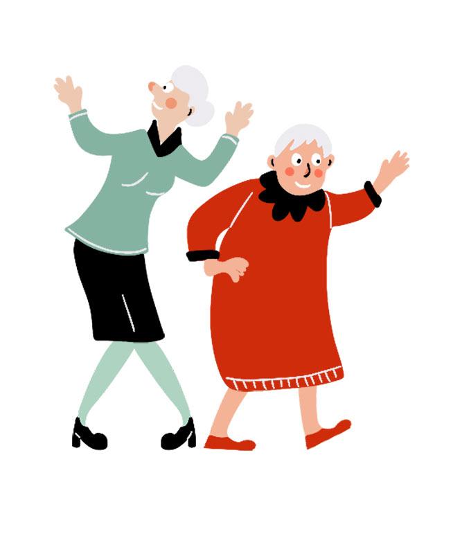 وکتور مفهومی با طرح رقص و شادی پیرزن ها