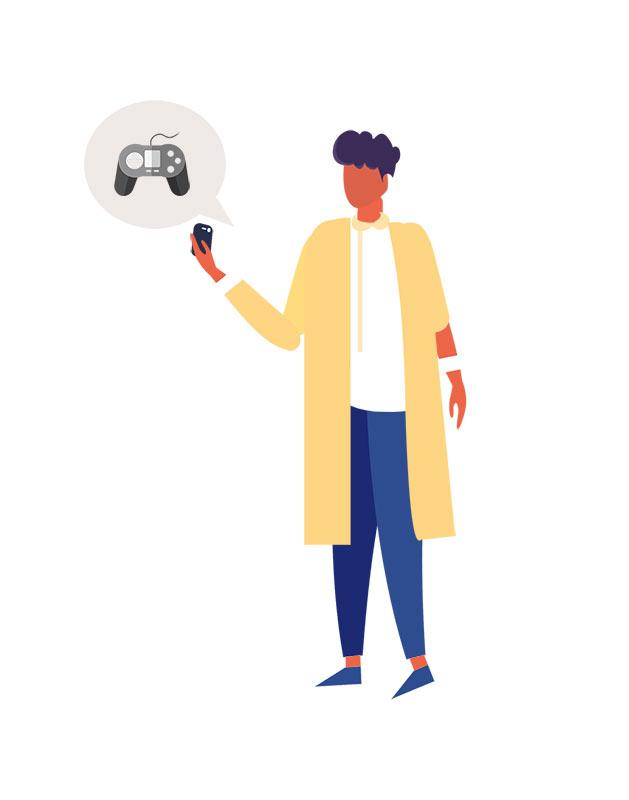 دانلود وکتور مفهومی با طرح بازی کردن با گوشی موبایل