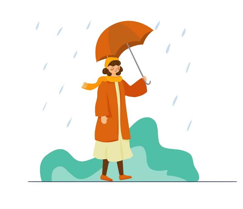 دانلود وکتور مفهومی با کیفیت با طرح پیاده روی زیر باران