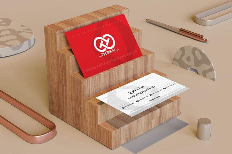 دانلود موکاپ کارت ویزیت روی پلکان چوبی
