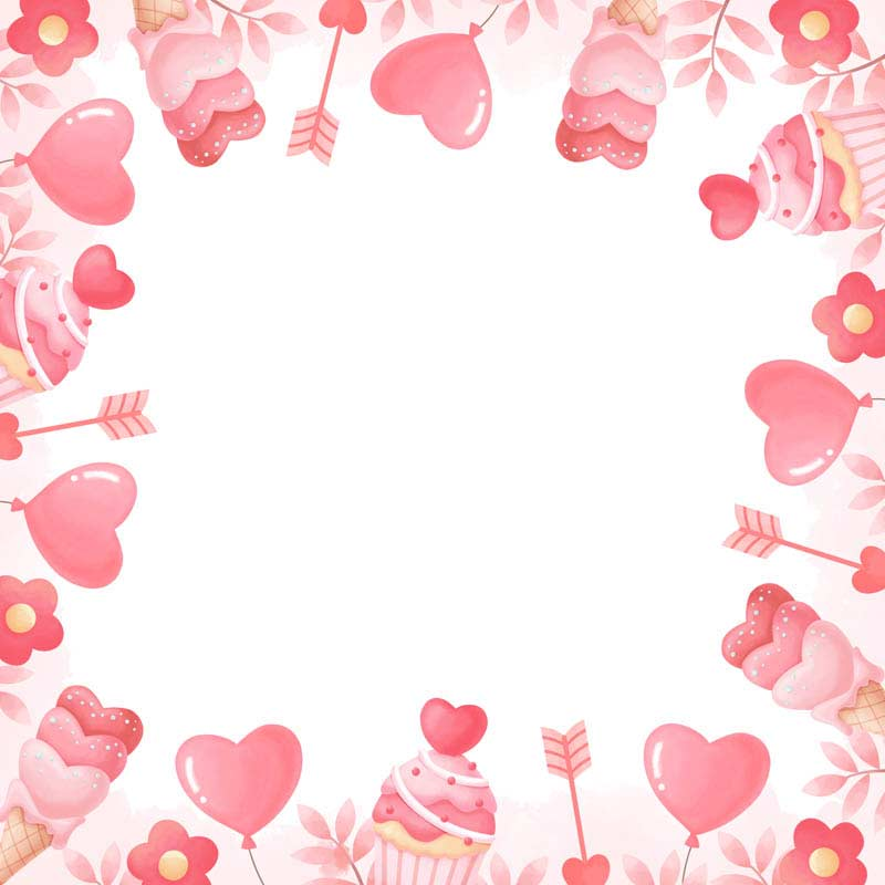 طرح لایه باز پس زمینه کاپ کیک و بستنی قلبی