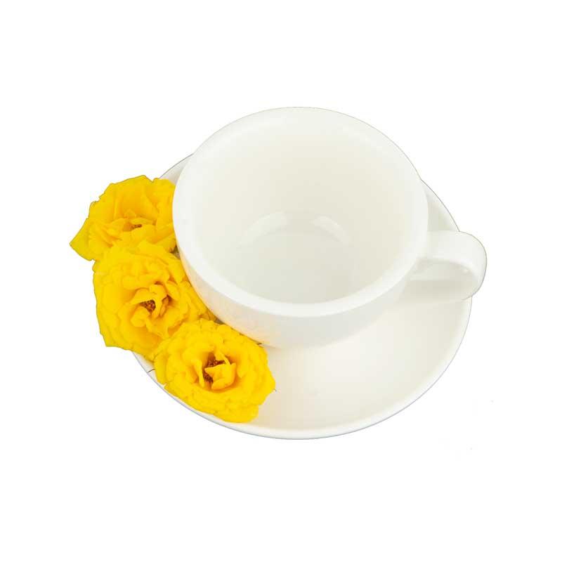دانلود طرح گل های زرد کنار فنجان و نعلبکی