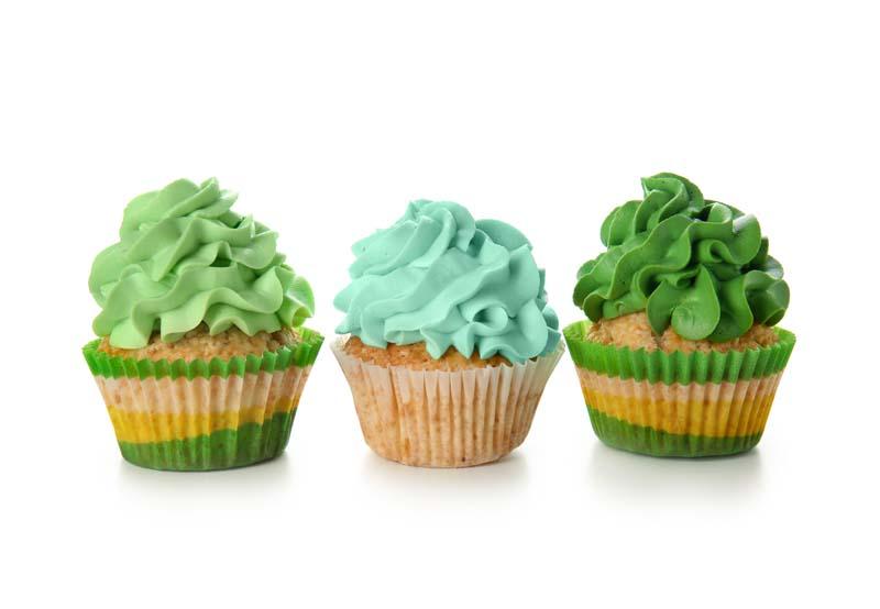 تصویر باکیفیت کاپ کیک خامه ای سبز