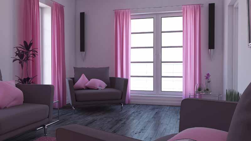 تصویر باکیفیت دکوراسیون اتاق پذیرایی به رنگ ارغوانی