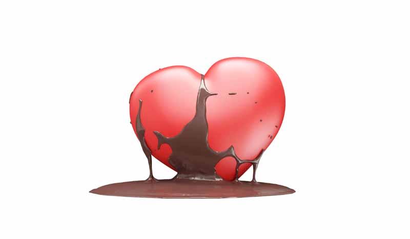 عکس باکیفیت سه بعدی قلب و شکلات