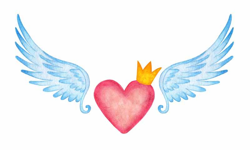 دانلود عکس باکیفیت نقاشی قلب و بال های فرشته