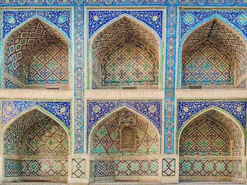 تصویر باکیفیت کاشی کاری مسجد ازبکستان