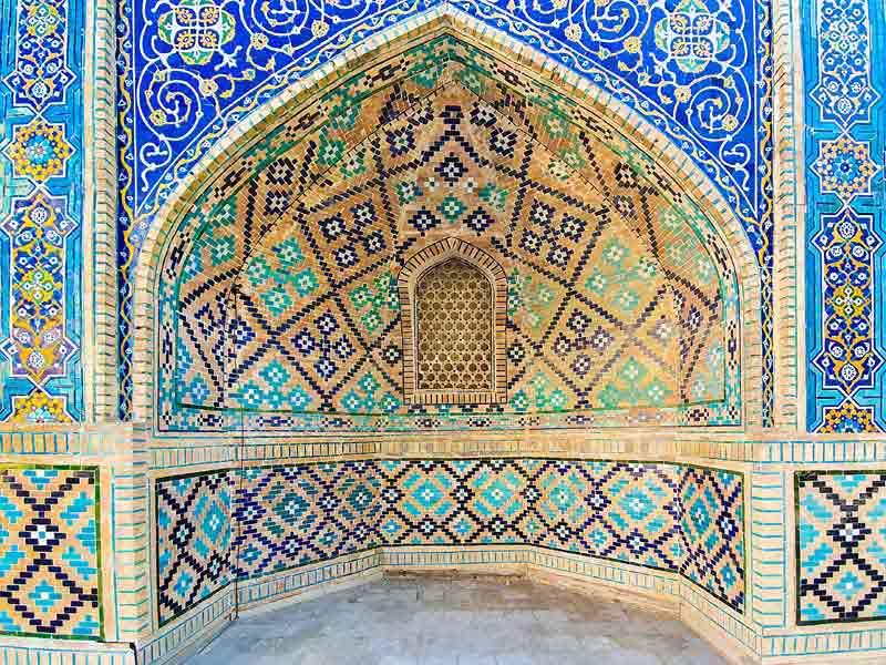 تصویر با کیفیت کاشی کاری مسجد ازبکستان