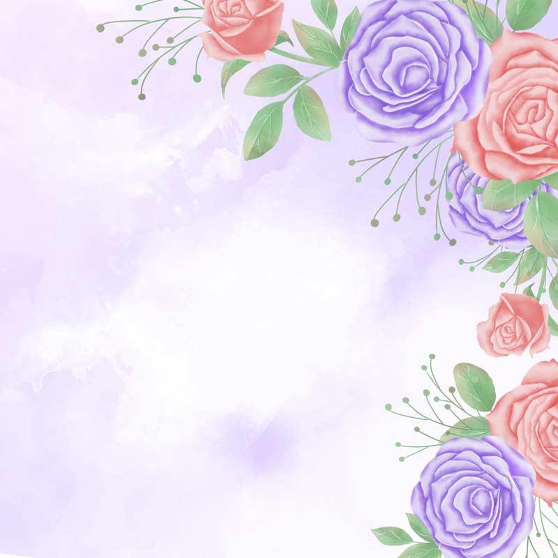 طرح لایه باز پس زمینه نقاشی با آبرنگ رزهای یاسی و صورتی