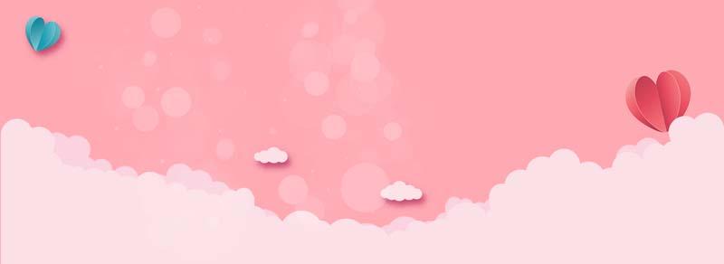 طرح لایه باز پس زمینه ابر و آسمان صورتی و قلبی