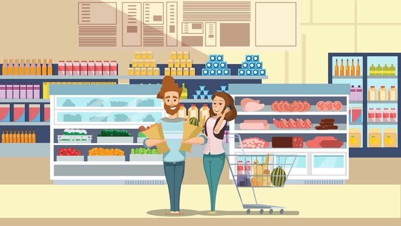 وکتور مفهومی لایه باز با طرح فروشگاه مواد غذایی