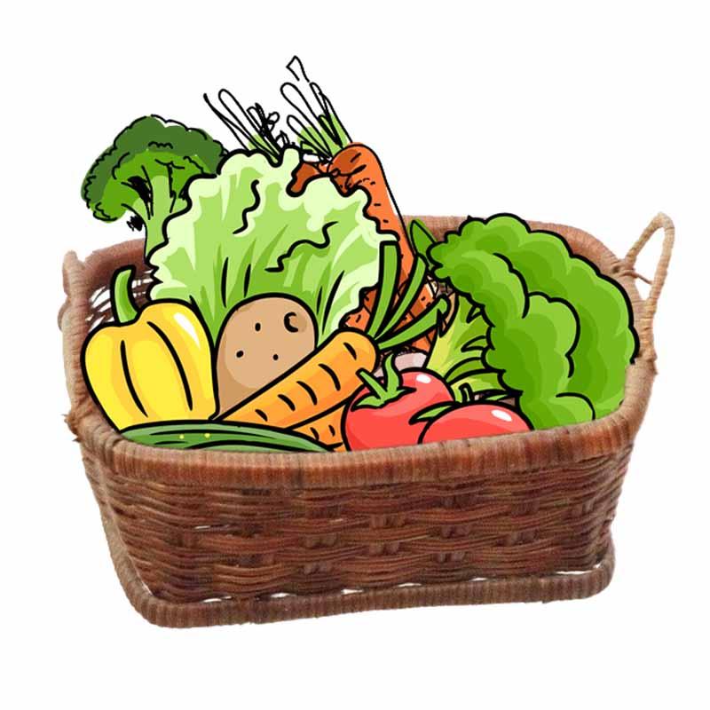 طرح کلیپ آرت سبد میوه و سبزیجات