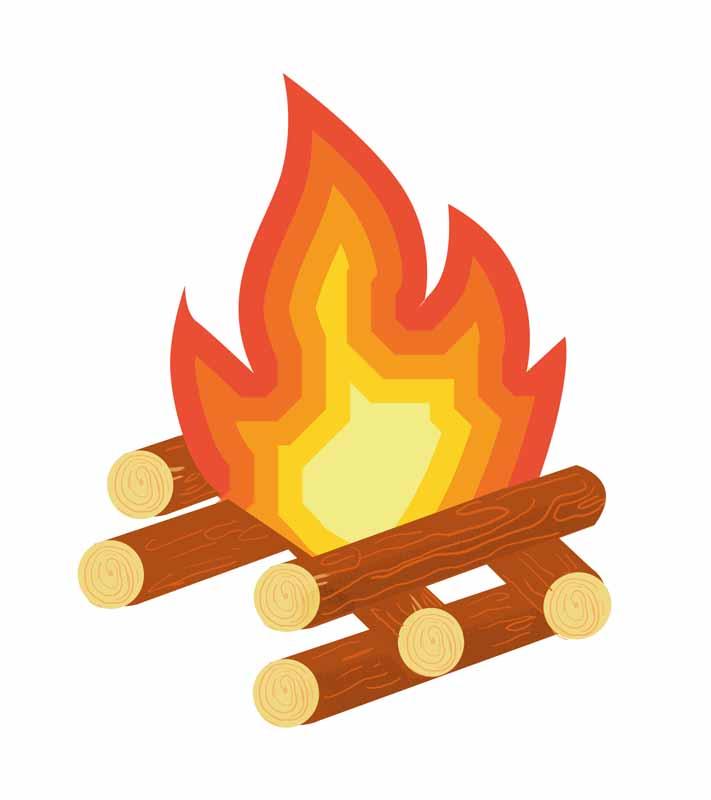 طرح کلیپ آرت روشن کردن آتش