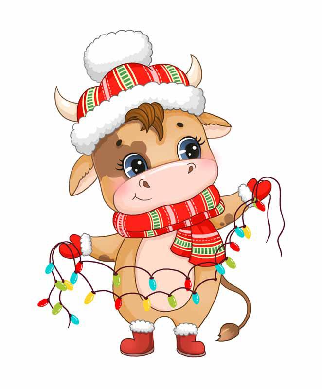 طرح کلیپ آرت کریسمس با نماد گاو