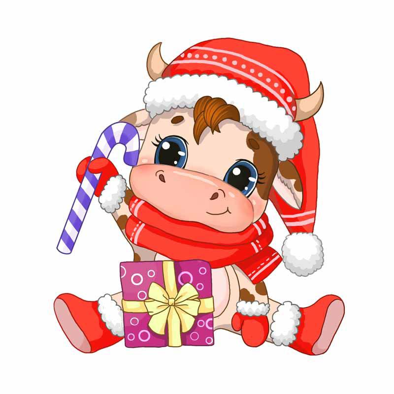 طرح کلیپ آرت جشن کریسمس با نماد گاو