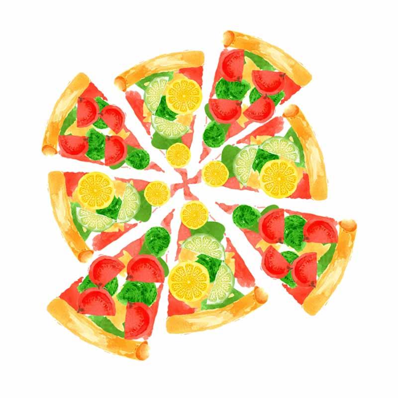 طرح کلیپ آرت پیتزا سبزیجات