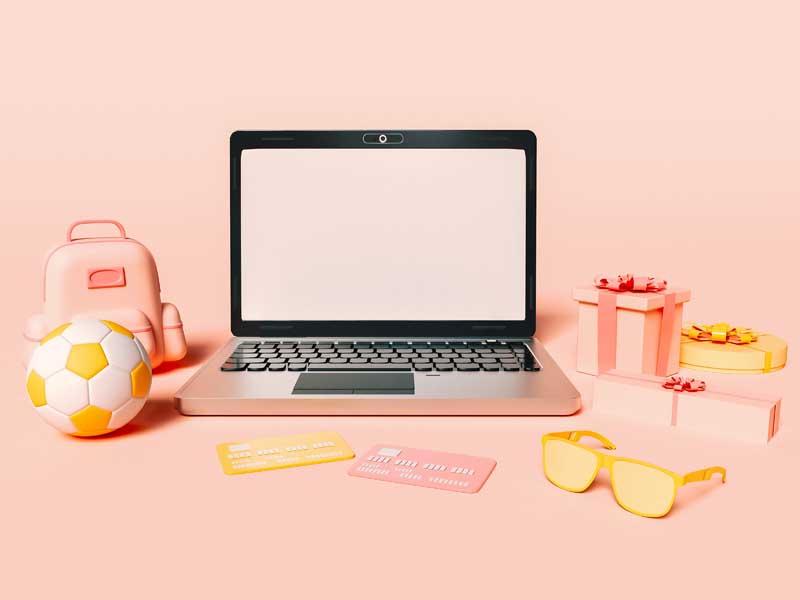 دانلود عکس سه بعدی خرید اینترنتی با لپ تاپ
