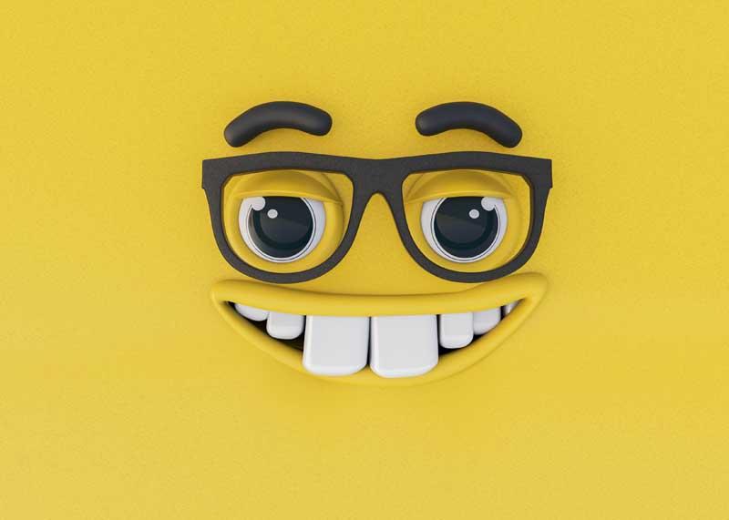 عکس سه بعدی ایموجی عینکی خندان