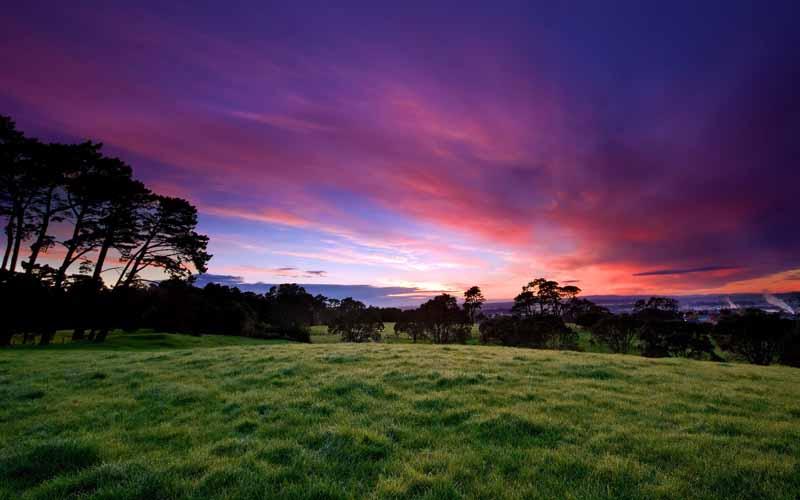 تصویر باکیفیت از آسمان بنفش و صورتی زیبا