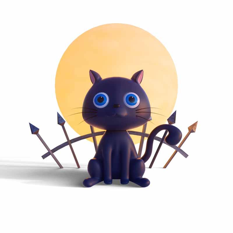 طرح کلیپ آرت بچه گربه سیاه