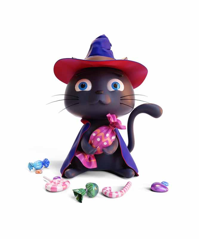 طرح کلیپ آرت گربه سیاه در شب هالووین