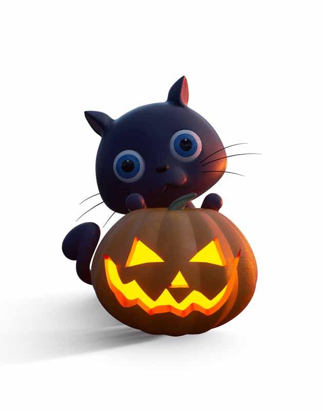 دانلود طرح کلیپ آرت گربه سیاه و کدوحلوایی