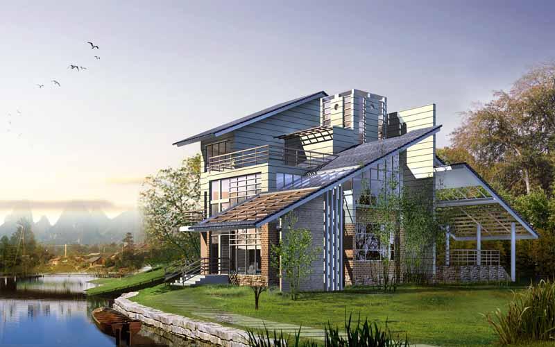 دانلود عکس سه بعدی خانه ویلایی کنار رود