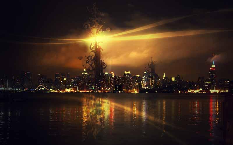 دانلود عکس لارج فرمت شهر ساحلی در شب