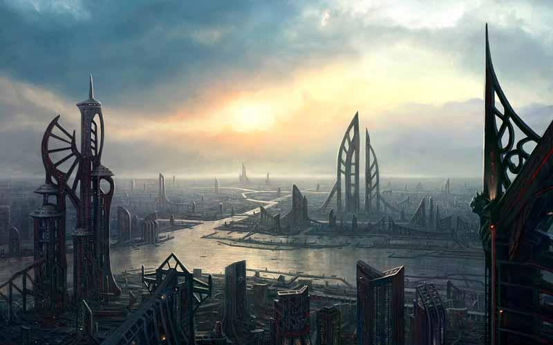 تصویر بازی کامپیوتری با طرح شهر خیالی