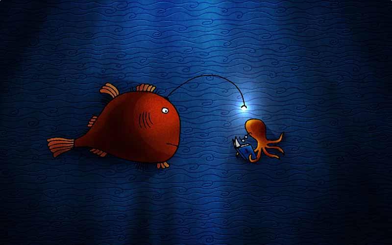 تصویر بازی کامپیوتری با طرح ماهی و هشت پا