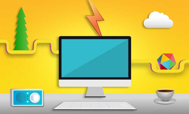 عکس کارتونی کامپیوتر و میزکار