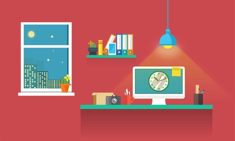 دانلود عکس کارتونی دفتر کار در شب