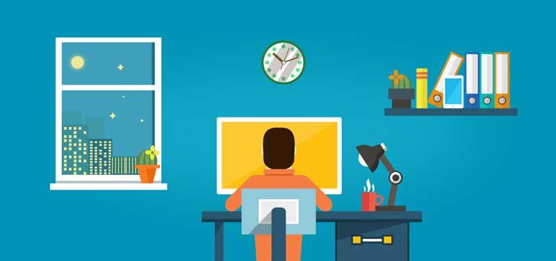 دانلود عکس کارتونی کار شبانه در دفتر کار
