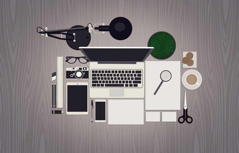 دانلود عکس با کیفیت کارتونی میز کار از نمای بالا