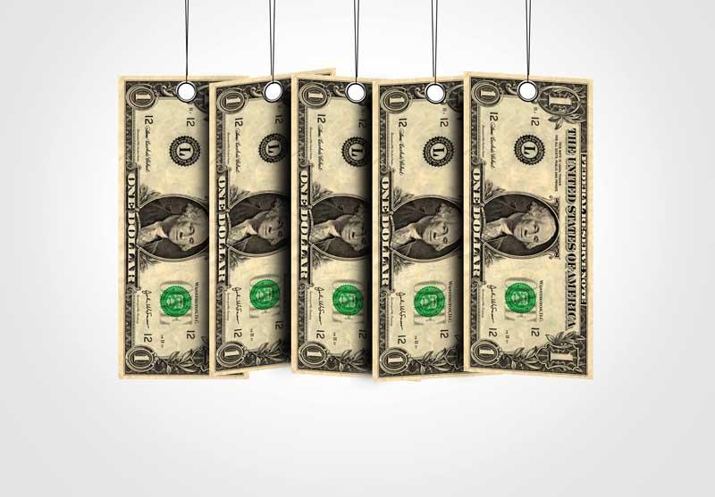دانلود تصویر اسکناس های آویزان 1 دلاری