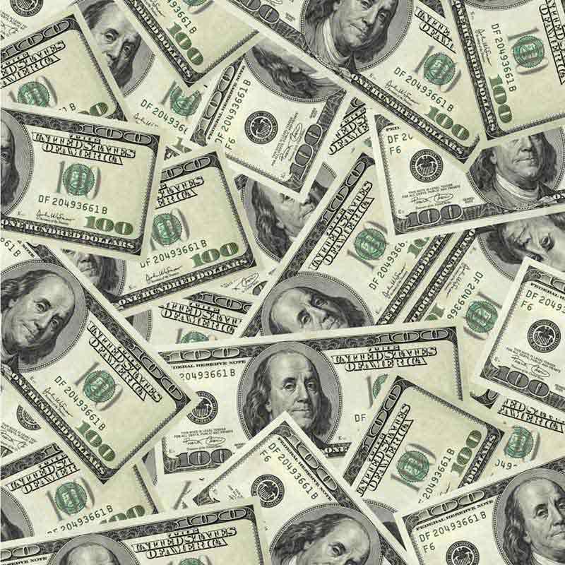 تصویر اسکناس های 100 دلاری از نمای بالا
