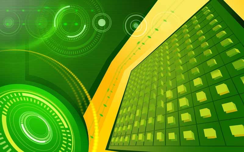 تصویر پس زمینه سبز با طرح دایره و مکعب