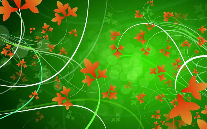 تصویر پس زمینه سبز با طرح گلهای نارنجی
