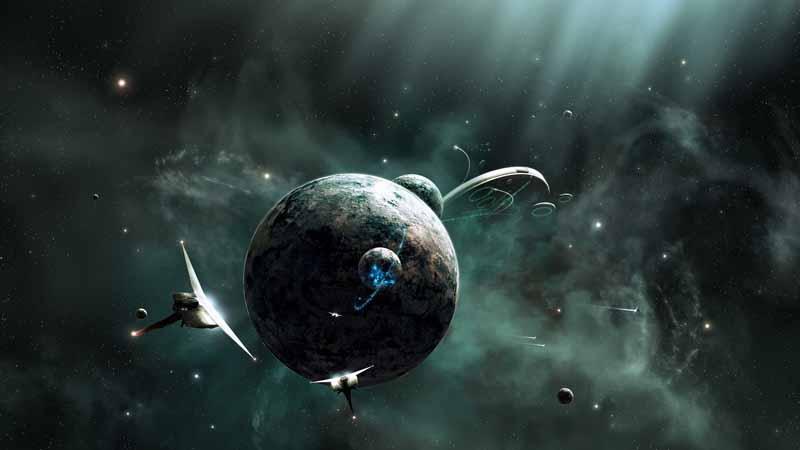 تصویر باکیفیت سفینه های فضایی در کهکشان